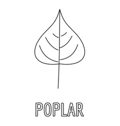 Poplar leaf icon outline style vector