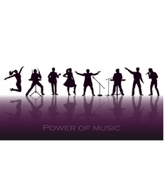 Power of music concept set of black silhouettes vector