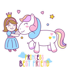 princess best friend with horse cute vector image