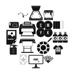 Printing icons set simple style vector