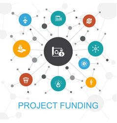 Project funding trendy web concept with icons vector