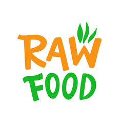raw food badge sign vector image