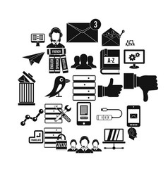 reciprocality icons set simple style vector image
