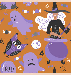 seamless background for halloween with owl witch vector image