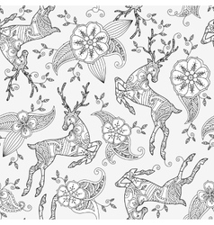 Seamless pattern with running deer flying and vector image