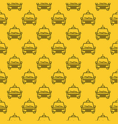 seamless pattern with taxi car line icon vector image