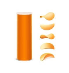 Set of Orange Box with Potato Crispy Chips vector