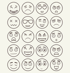 Set of outline emoticons emoji isolated on white vector