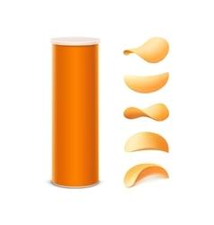 Set orange box with potato crispy chips vector