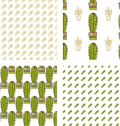 Set seamless pattern of cacti and succulents in vector