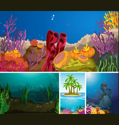 Set underwater scene vector