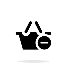 Shopping basket with minus simple icon on white vector