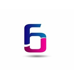 sign number 6 logo vector image