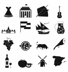 Spain icons black vector
