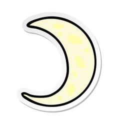 sticker cartoon doodle a crescent moon vector image