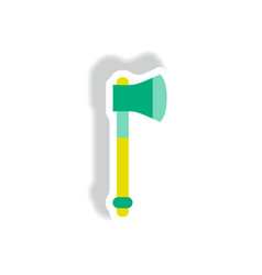 Stylish icon in paper sticker style steel ax vector
