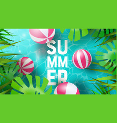 summer background tropical plants and pool vector image