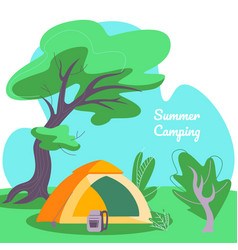 Summer camping square banner tent and backpack vector