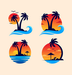sunset beach logo design vector image