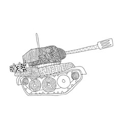 Tank doodle fighting war machine army panzer vector