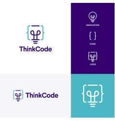 think code bulb innovation smart logo icon vector image