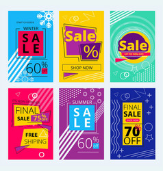Trendy offers cards colorful sale banners vector