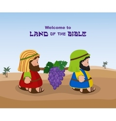 Two spies of israel carrying grapes vector image