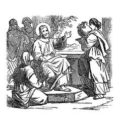 Vintage drawing biblical story jesus at vector