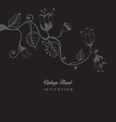 Vintage floral invitation vector image