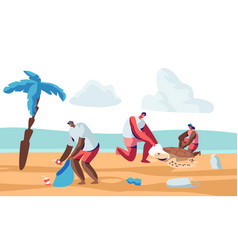Volunteer people cleaning garbage on beach area vector