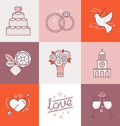 Wedding linear icons vector image