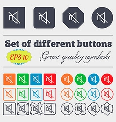 Without sound mute icon sign Big set of colorful vector