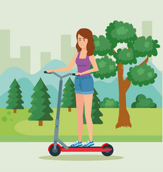 Woman riding electric scooter in the park vector