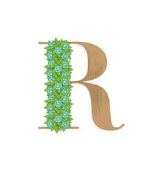 wooden leaves letter r vector image