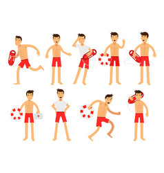 Young lifeguard man character doing his job set vector