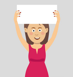 young woman holding an empty blank board vector image