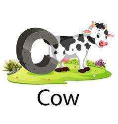 zoo animal alphabet c for cow vector image