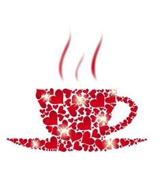 coffee cup from red hearts vector image