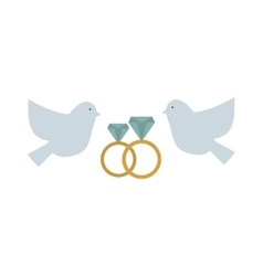 Doves couple with hearts icon vector image
