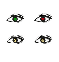 Eye set with money love and luck icons vector image