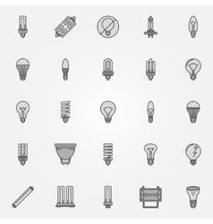 Monochrome bulb icons vector image