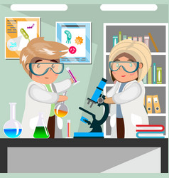 scientists men and women working at science lab vector image vector image