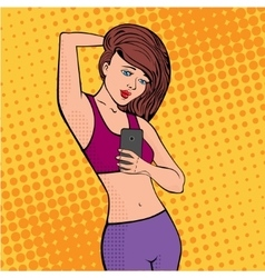 selfie girl pop art vector image