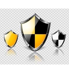 Set of steel shields on transparent background vector image