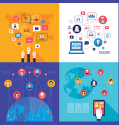 social network technology banner set global vector image vector image