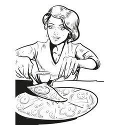 woman eating pizza at home in vector image vector image