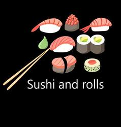 delicious Japanese sushi and rolls vector image