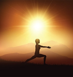 female in yoga position against sunset landscape vector image