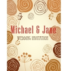 Floral wedding invitation template design vector image vector image