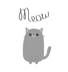 gray cat meow lettering text cute cartoon funny vector image